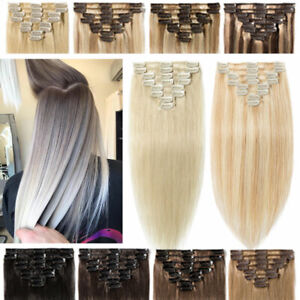 Clip In Remy Real Hair Extensions 100% Human Hair Full Head Weft Ombre Highlight $37.41