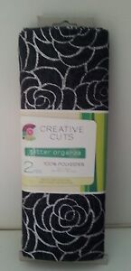 SPRINGS CREATIVE BLACK amp; SILVER FABRIC 2 YARDS 72quot; x 56quot; FLORAL DESIGN NIP