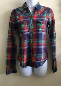 Hollister Junior's Size Small Red Navy Long Sleeve Button Down Shirt $4.79