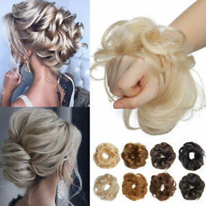 Messy Bun Remy Human Hair Scrunchie Updo Chignon Clip in Real Hair Extensions US $9.99