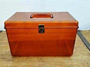 Vintage WIL HOLD Wilson Mfg Amber Plastic Sewing Box With 2 Trays USA $29.25