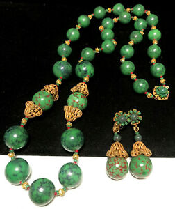 Miriam Haskell Set Rare Vintage Signed Green Red Lucite Glass Necklace Earrings $600.00