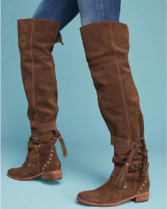 SEE BY CHLOE Dasha Dakra BROWN SUEDE SLOUCH RIDING BIKER OVER THE KNEE BOOTS 8 $275.00