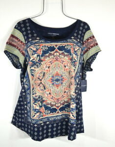 Lucky Brand Persian Carpet Graphic Scoop Neck Short Sleeve Tee Top Blouse 1X NWT