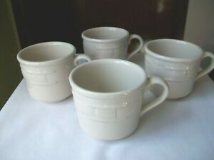 LONGABERGER POTTERY WOVEN TRADITIONS COFFEE TEA CUP IVORY SET OF 4 EUC $21.50