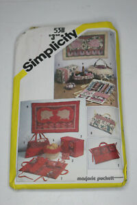 Simplicity Sewing Pattern 5311 String Quilted Sewing Basket Liner Tote Bag 1980s $8.99
