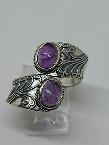 Amethyst Two Stone Ring 925 Sterling Silver Size 9 FREE SHIPPING $35.00