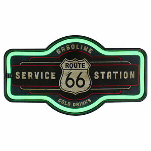 Northlight 17 Black Route 66 Service Station Green LED Neon Style Wall Sign