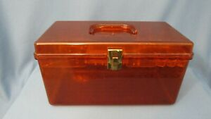 Vintage WIL HOLD WILSON Brown Transparent Sewing Box 12x6.5x7 w labeled tray $23.98