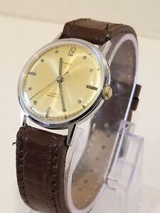 timex 21 jewels vintage perfect aged dial great time keeper leather #6517 7265