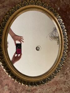Vintage Oval Mirror Plastic Framed Paintable Gold Syroco Style Vanity Wall Leaf