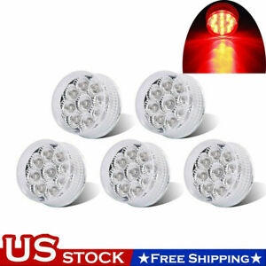 5pcs Red 2quot; inch Round 9 LED Side Clearance Marker Light Truck Trailer Lamps 12V