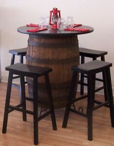 White Oak Whiskey Barrel Table C Stand 36quot; Tabletop 4 29quot; Black Bar Stools