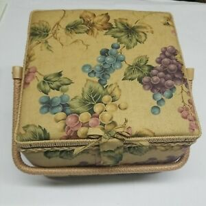 Vtg Fabric Covered Sewing Storage Box Basket Square Floral Padded Liner Notions $39.00