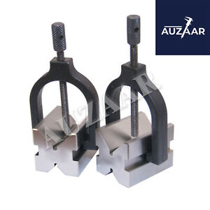 2quot; 50mm Precision Engineers All Steel Vee Blocks Clamp Set V Block Matched Pair