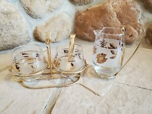 Vintage Libby Glass Gold Leaf 2 Cream Pichers and Sugar Bowl with gold tongs $27.25