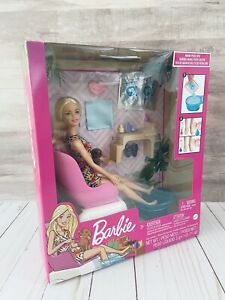 Barbie Mani Pedi Spa Playset with Blonde Doll Puppy Foot Spa amp; Accessories