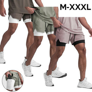 Men 2 in 1 workout running gym quick dry fit shorts athletic crossfit bodybuildi $13.98
