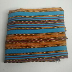 Vintage Woven Striped Fabric 37quot;x56quot; Turquoise Gold Maroon Retro Heavy Sewing $15.29