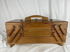 Vintage Small 3 Tier Fold Out Accordion Wood Dovetail Sewing Box Romania $39.99