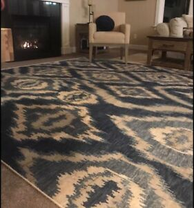New 8' X 10' Area Rug Williams Sonoma Brand Pottery Barn Wool River IKat Blue