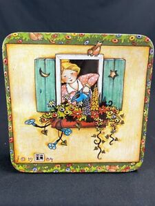 Mary Engelbreit 1984 Tin Square quot;Bloom Where You#x27;re Plantedquot; 7quot; by 7quot;
