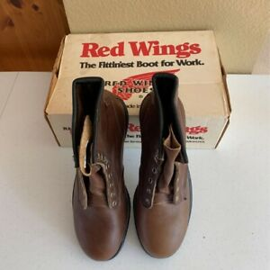 Red Wing Shoes Mens Work Boots Brown Lace Up Steel Toe Oil Resistant 8.5 D New