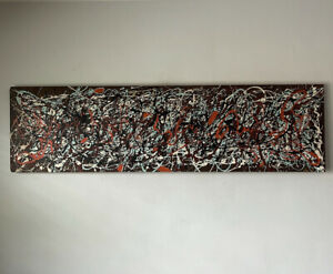 LARGE MODERN ABSTRACT OIL PAINTING IN THE MANNER OF JACKSON POLLOCK 1959 VINTAGE $27500.00