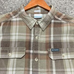 Columbia Button Up Shirt Mens Large Cordurory Brown Beige Check Long Sleeve Mens $18.87
