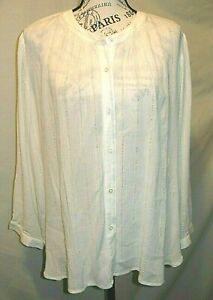 Loft Womens Large New White Metallic Threads Over Blouse Top 3 4 Sleeve Tag $15.99