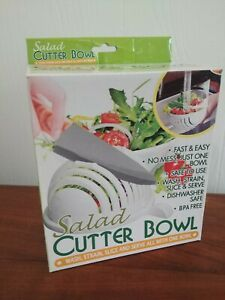 Salad Cutter Bowl Three In One Colander Cutting Board Serving Dish NEW