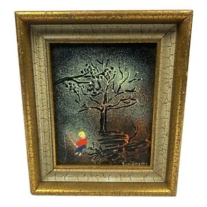 Enamel On Copper Fishing Under A Tree Framed Painting By Simonello