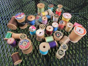 Lot of Vintage Wooden Thread Spools Sewing Crafts Partial empty as shown $12.95