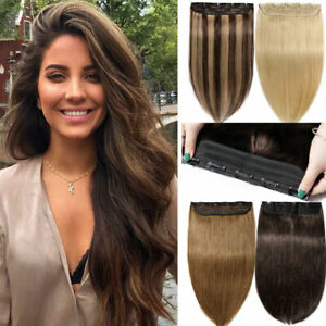 One Piece Thick Real Hair Extensions Clip In Human Hair Weft 3 4 Full Head Soft $29.15