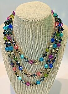 Vintage WESTERN GERMANY Signed Plastic Eclectic Mix Bead Triple Strand Necklace $7.00