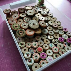 Vintage Lot of 80 Wooden Thread Spools Various Sizes and Brands C $29.95