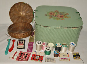 Vintage Green Wicker Sewing Basket All Sewing Contents $22.00
