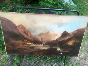 antique oil painting Original On Canvas 1890s Unframed Unsigned Hudson Style $249.00