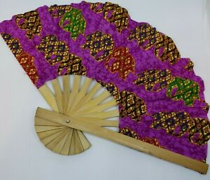 HAND FAN THAI ELEPHANT COLOR PRINTED CRAFTED BAMBOO WOODEN FOLDING FABRIC $8.79