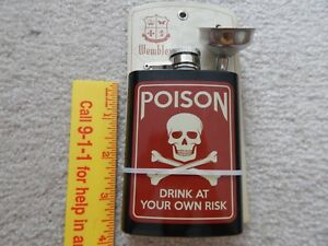 STAINLESS STEEL FLASH POISON DRINK AT YOUR OWN RISK NEW ON CARD 40Z.