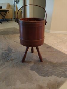 Vintage Sewing Box with Three Legs Light Maple Curved handle $55.00
