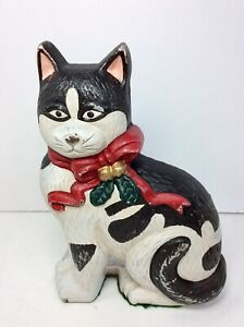 Vintage Cast Iron Christmas Cat Doorstop W Red And Gold Bow 7.5� H x 5.5�Wx 3�D $24.99
