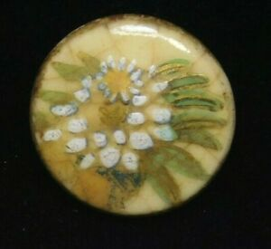 Antique Vtg BUTTON Small Hand Painted SATSUMA Pottery Nice J