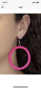 paparazzi🔥🔥 new release 2021 Beauty and the Beach hot pink seed bead earrings $4.00