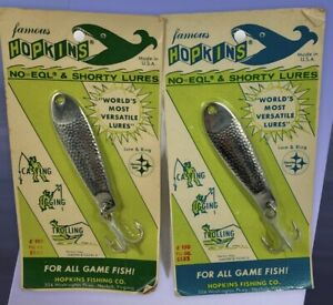 2 New Vintage NOS Famous HOPKINS Shorty FISHING LURES NO=EQL Stainless Steel USA