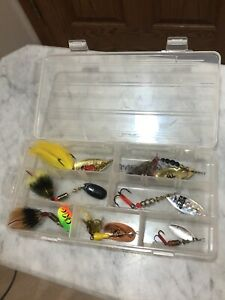 7 Mepps Spinning Fishing Lures Buck Tails Aglia Elix Made In France Plano Case