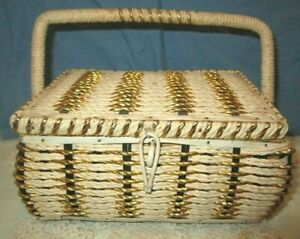 Vintage SEWING BASKET BOX Woven Wicker Cream Gold JAPAN FOOTED HANDLE $22.99