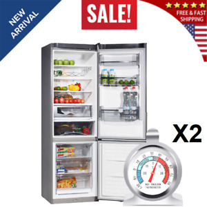 Stainless Steel Refrigerator Freezer Thermometer Large Dial Thermometer 2 pack