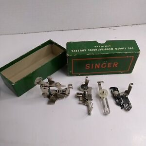Vtg lot SINGER Sewing Machine Parts and Accessories in SINGER BOX $25.00