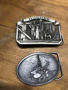 VINTAGE HUGHES TOOL And HYDRIL OTC OILFIELD PEWTER BELT BUCKLE $15.00